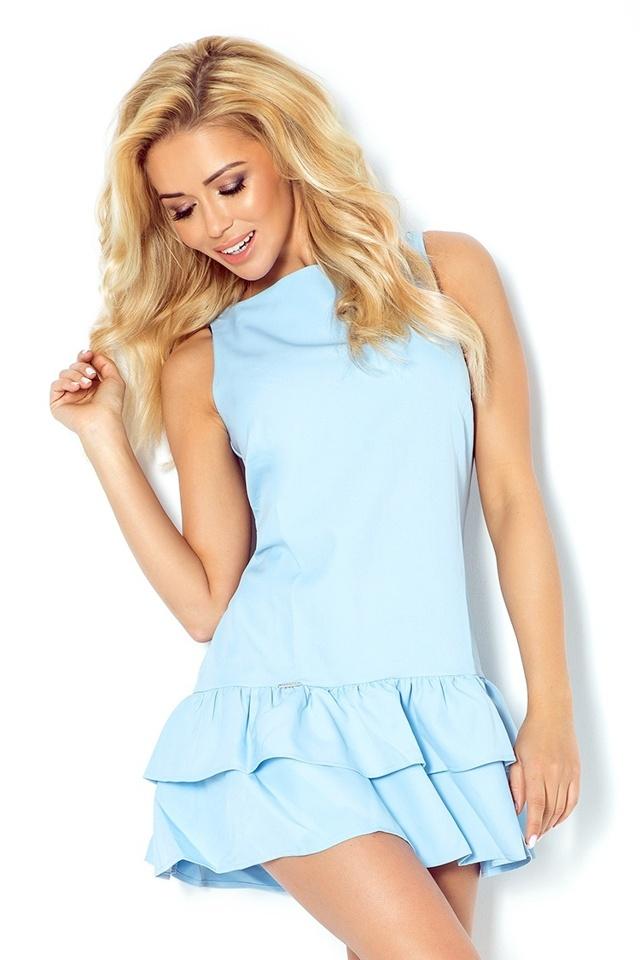 Světle modré šaty s volánky 113-3 - L