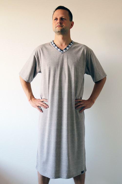 Pánská noční košile Nelly Jordan 1019 KR - M - béžová (melanž)