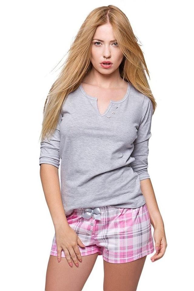 Dámské pyžamo Samanta růžové káro - XL