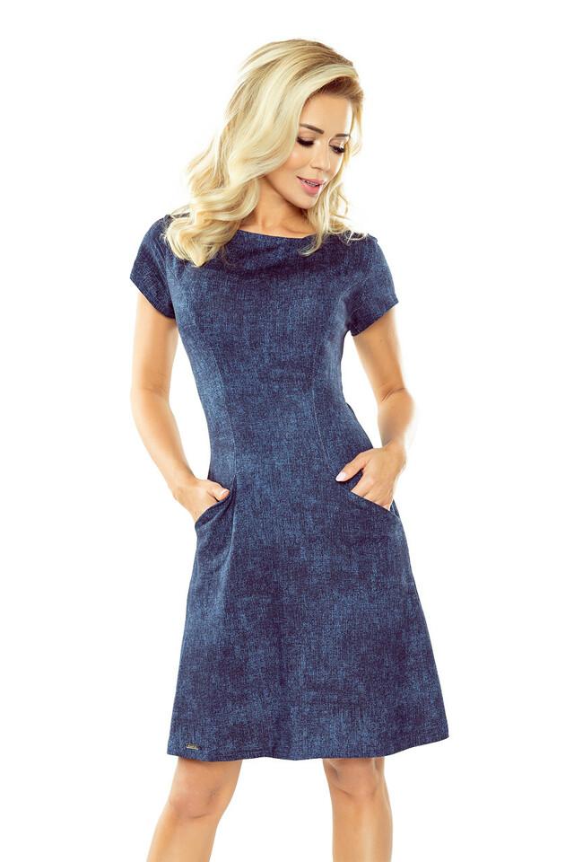 Tmavě modré džínové šaty s kapsami 155-2 - S