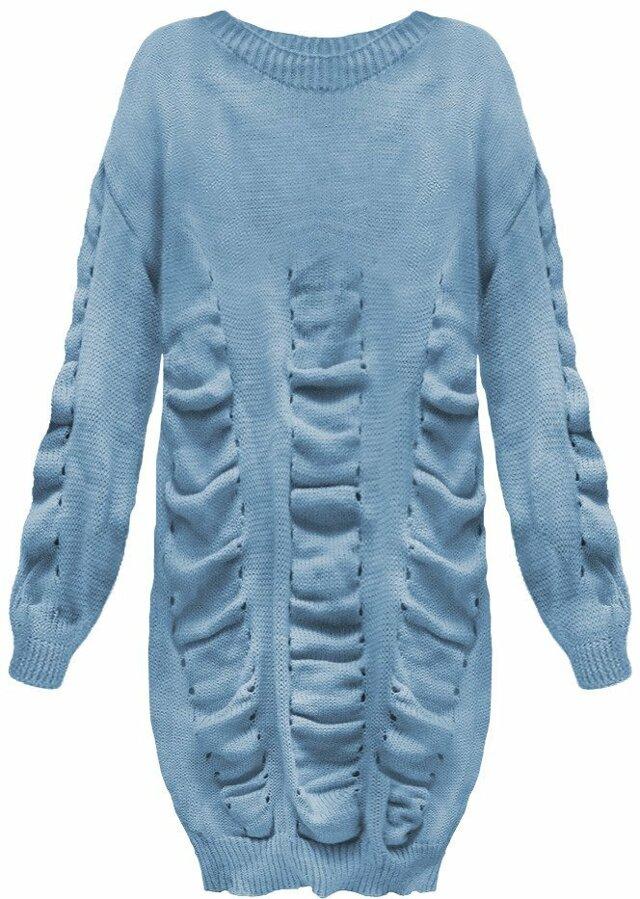 Modrý dámský svetr s nabíráním (181ART) - ONE SIZE - modrá