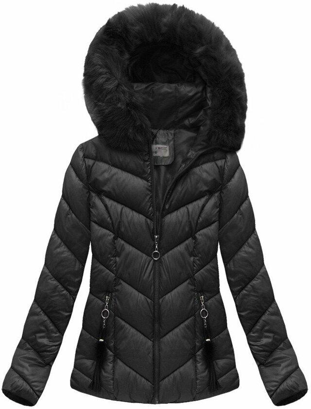 Černá dámská zimní bunda krátká (B1037-30) - S (36) - černá