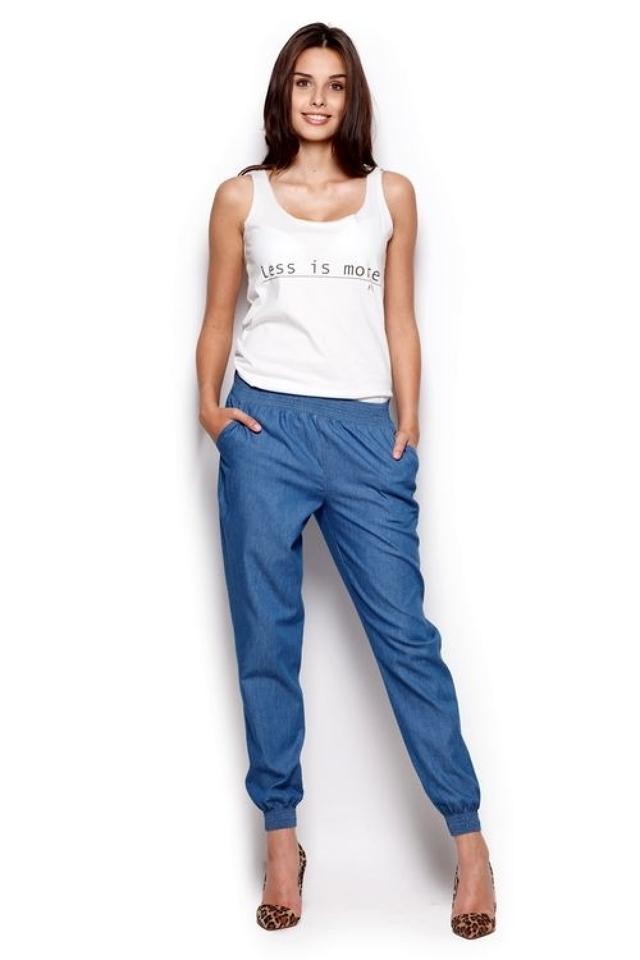 Dámské kalhoty M307 dark jeans - XL - modrá