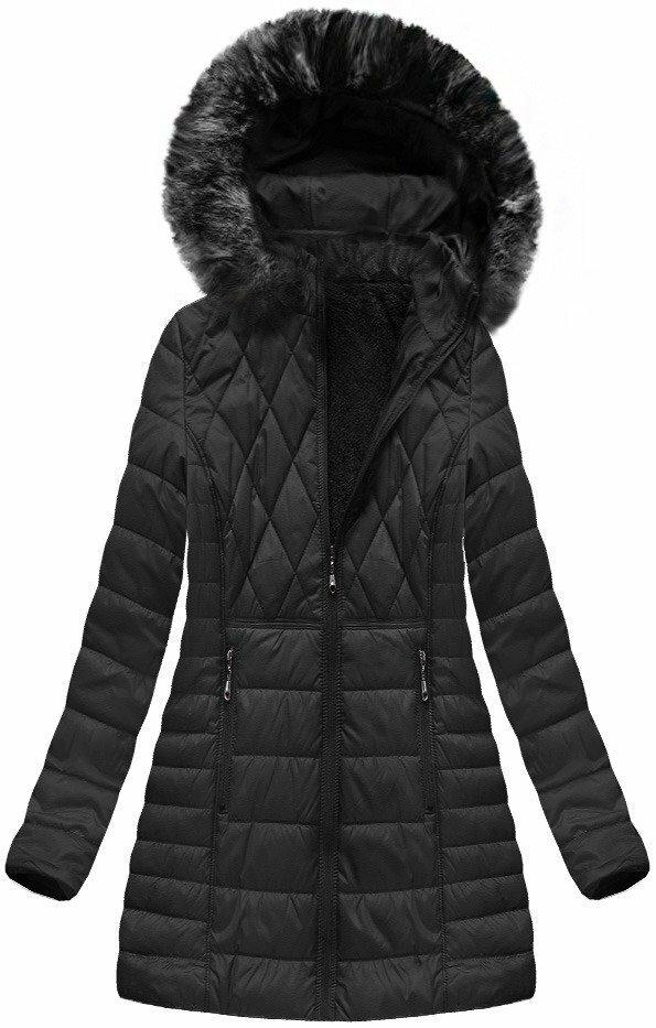 Černá dámská zimní bunda s kapucí (B1022-30) - 46 - černá