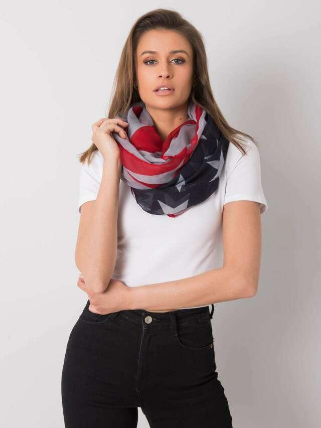Červený a šedý dámský šátek - jedna velikost