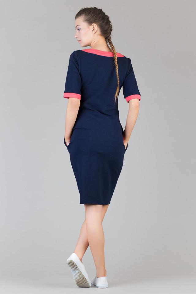 Denní šaty model 42666 Tessita - 3XL - granatová-koralová