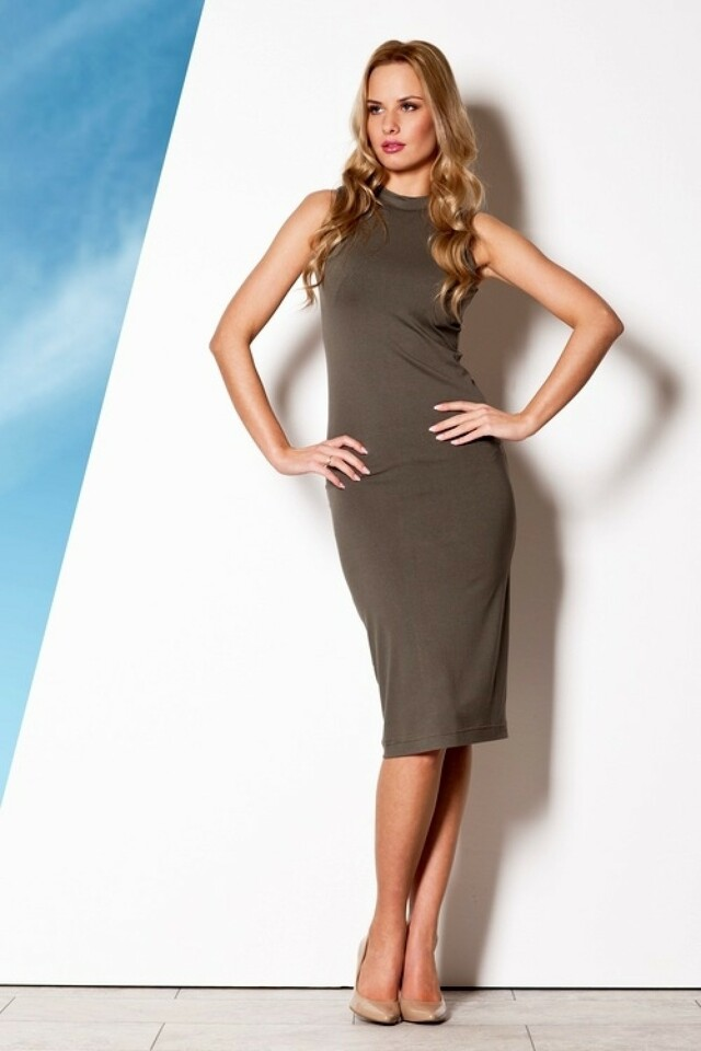 Dámské šaty M263 olive - L - olivová