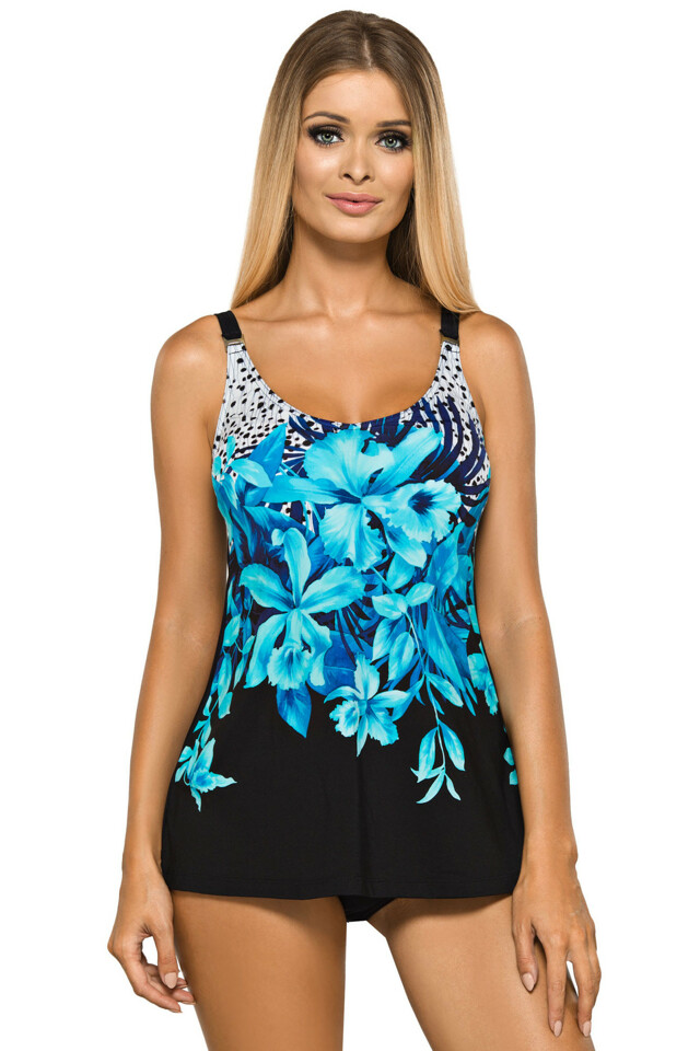 Dámské plavky tankiny Camilla černé s modrými květy - XL