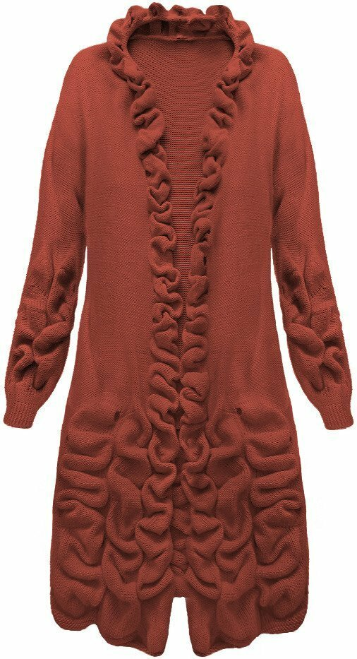 Cihlový dámský svetr s nabíráním (126ART) - ONE SIZE - oranžová