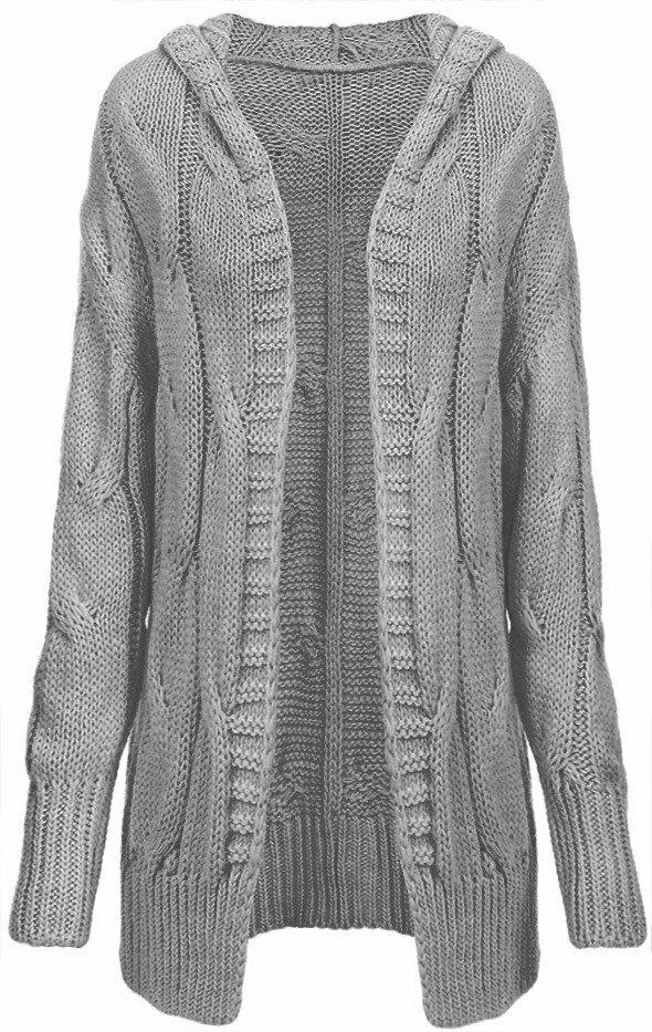 2d49e6d1053 Tmavě šedý dámský svetr s hrubým spletem (115ART) - ONE SIZE - šedá