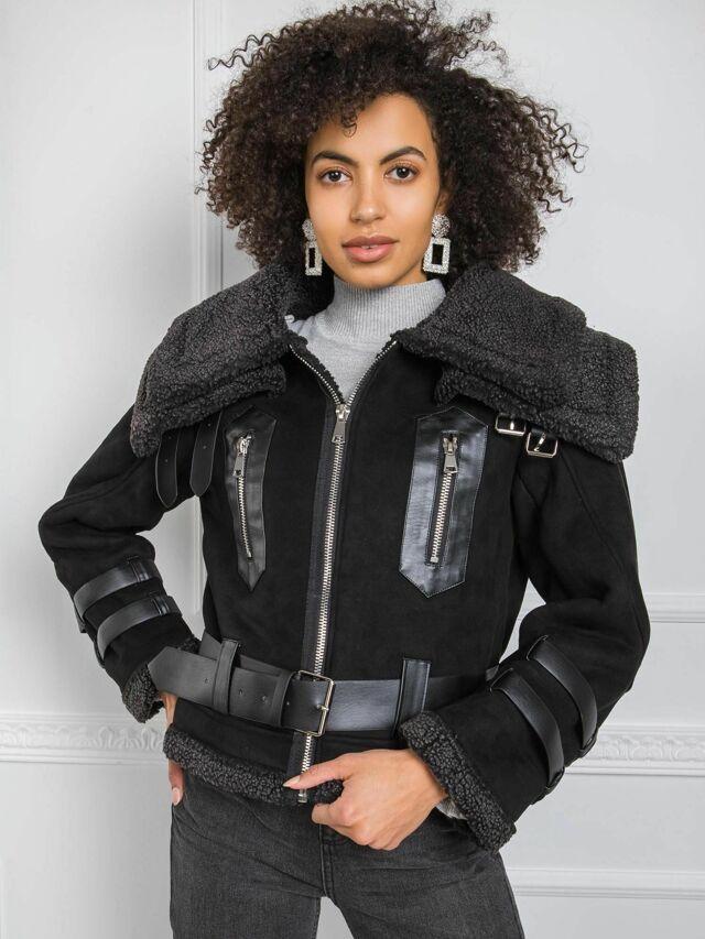 Černá bunda z ovčí kůže - XL