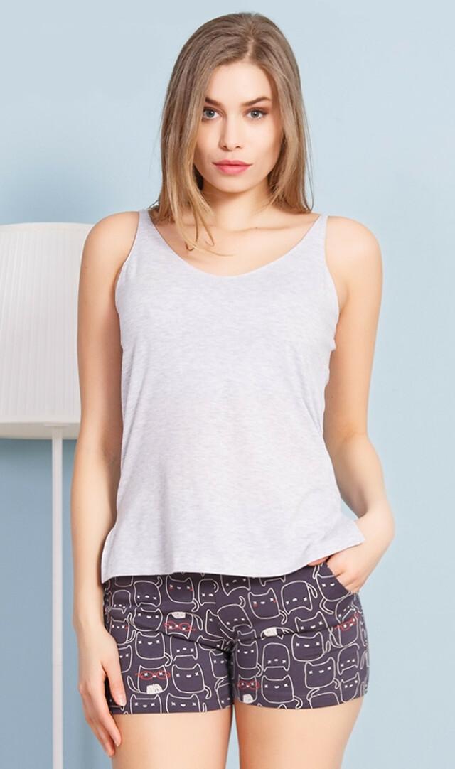Dámské pyžamo šortky na ramínka Kočky - šedá XL