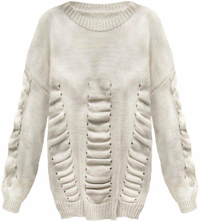 Béžový dámský svetr s nabíráním (182ART) - ONE SIZE - béžová 0fa38f0419