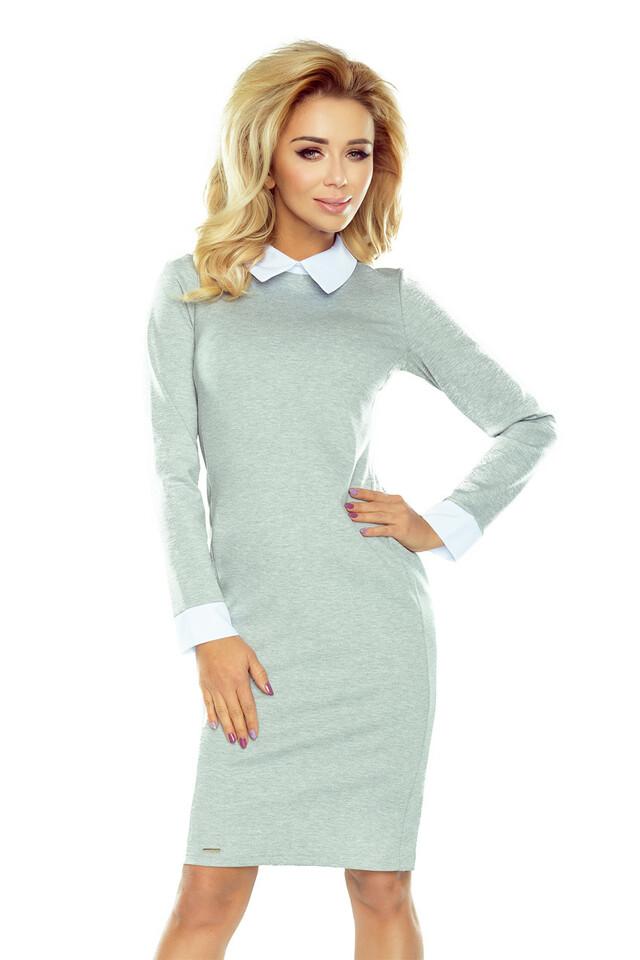 143-4 Světle šedé šaty s bílým límečkem a manžetami - XL