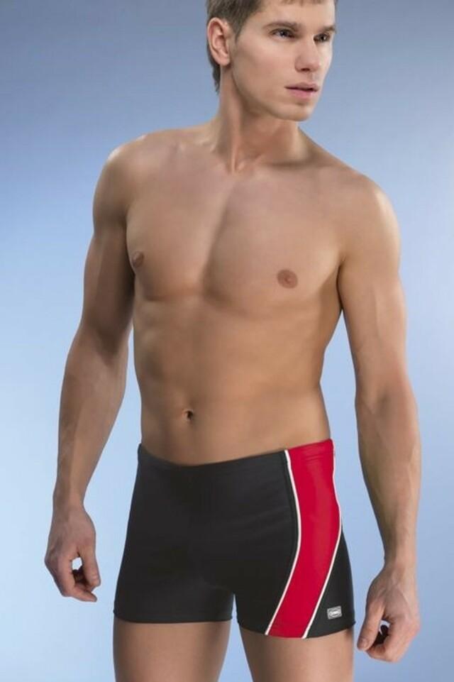 Pánské boxerkové plavky Michael1 černočervené - M