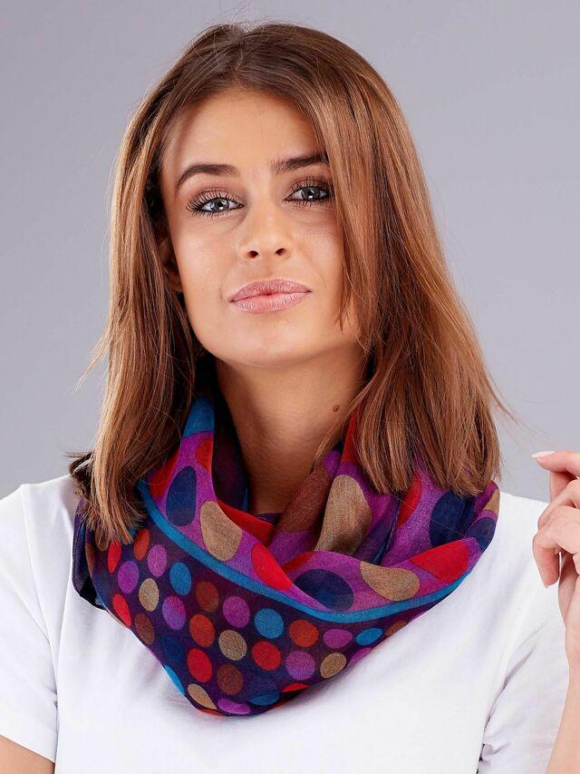 Fialový dámský šátek se vzorem barevného hrášku - jedna velikost