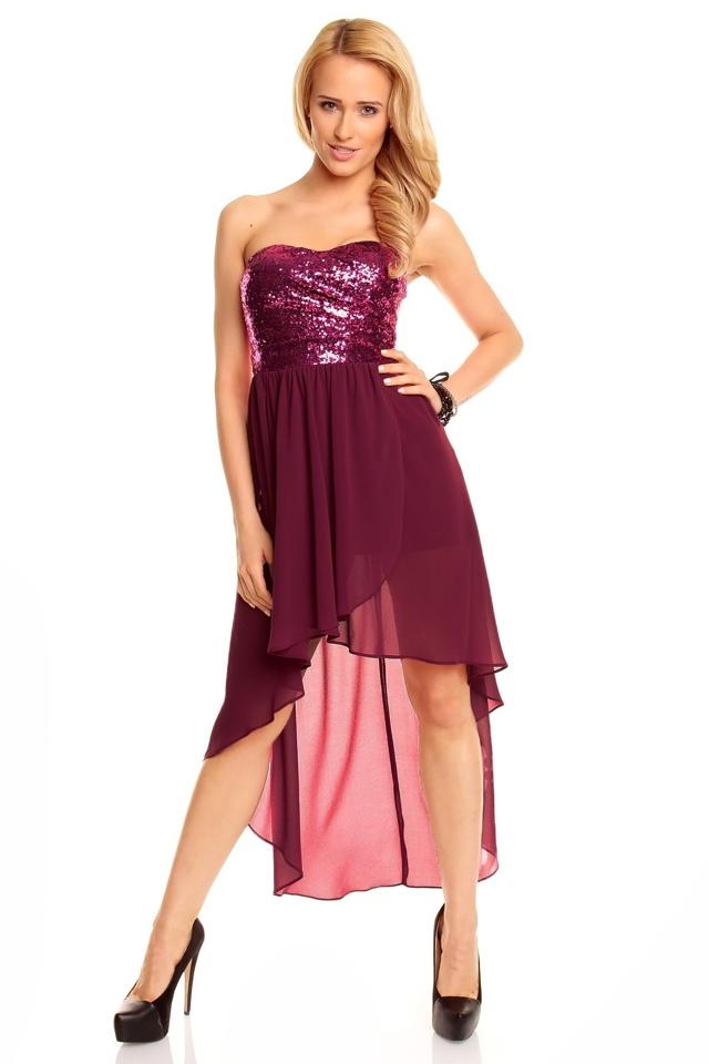 Dámské společenské šaty korzetové MAYAADI s asymetrickou sukní fialové - Fialová - MAYAADI - L
