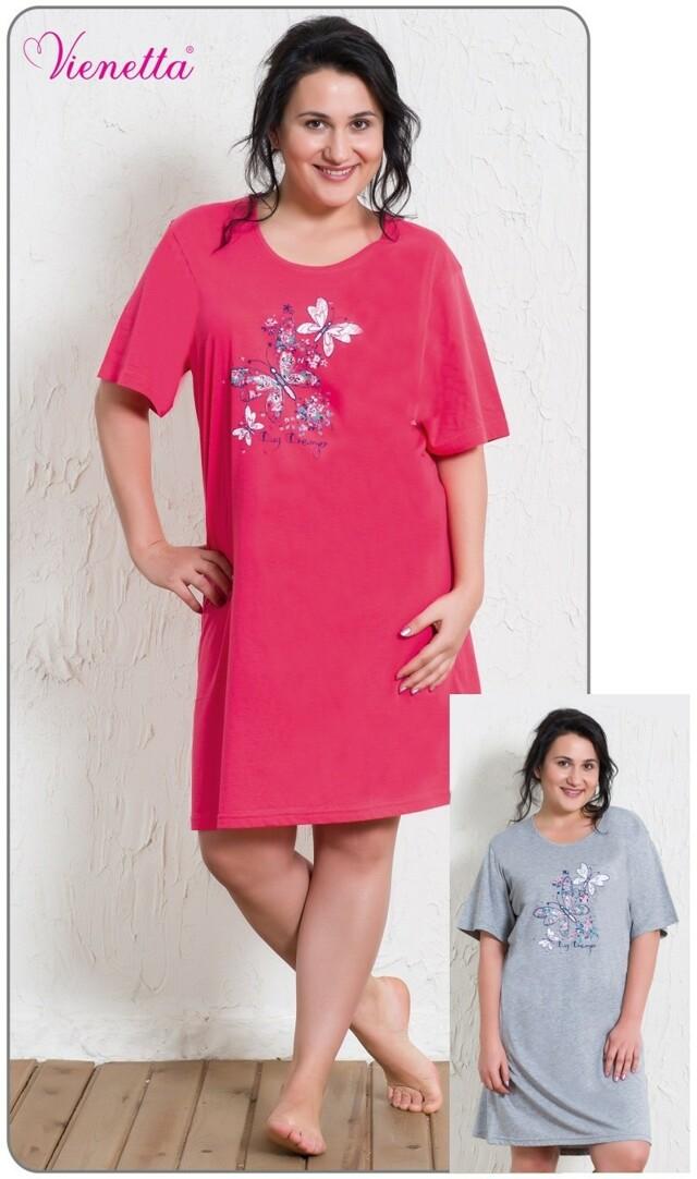 Dámská noční košile s krátkým rukávem Velcí motýli - jahodová 1XL