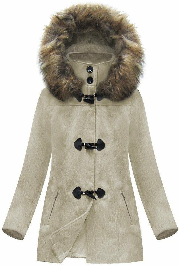 Béžový dámský kabátek s kapucí (3356) - XL (42) - béžová