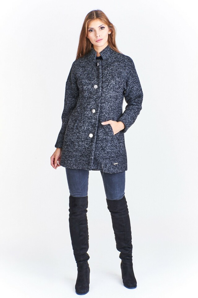 Vlněný kabát ADIKA M49613-CN16-1 - Ptak moda - 36 - šedá melange