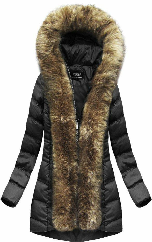Černá dámská prošívaná bunda (W749BIG) - 48 - černá