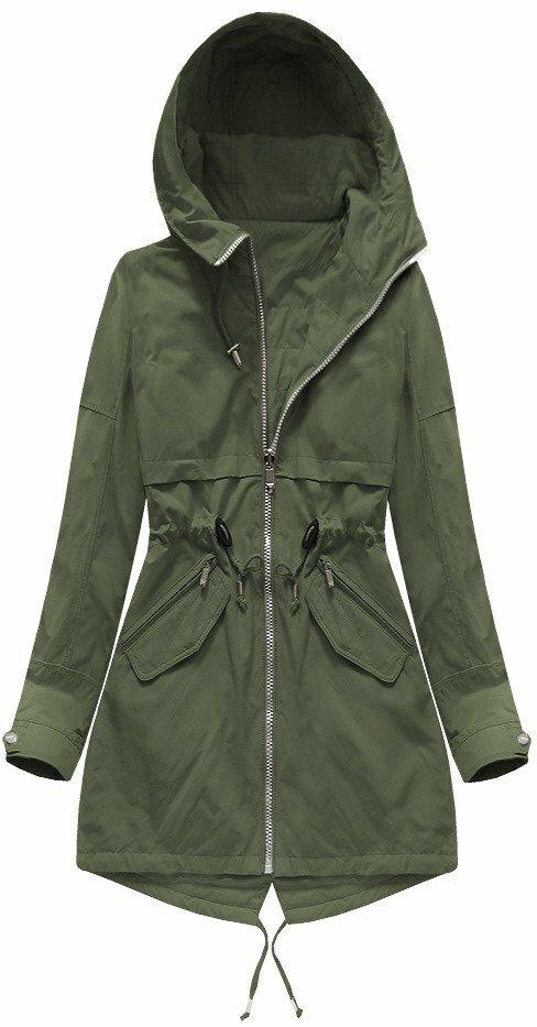 Oboustranná bunda parka v khaki barvě s kapucí (W0236) - XL (42) - khaki