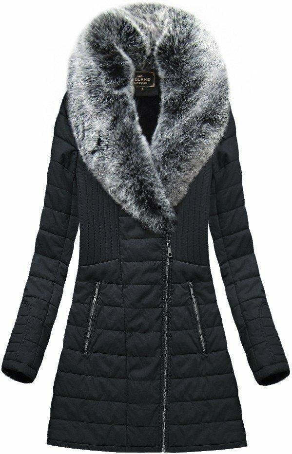08c0a5a5a5 Černý dámský koženkový kabát(LD5520) - M (38) - černá