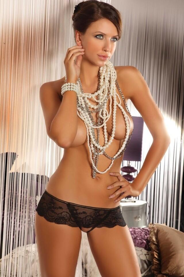 Erotická tanga Lesedi - L/XL - černá