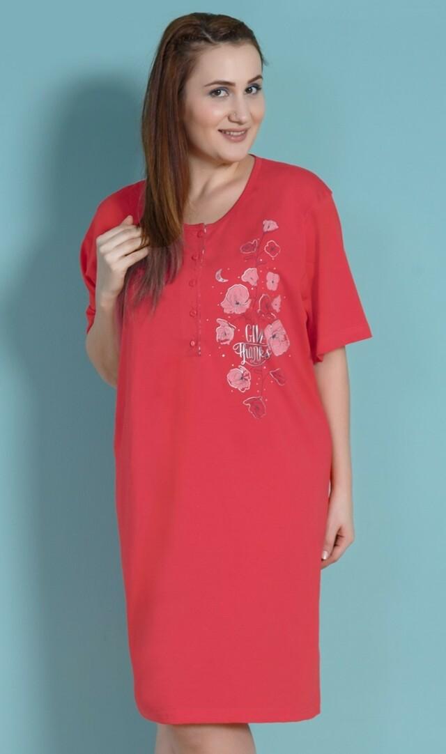 Dámská noční košile s krátkým rukávem Vlčí máky - červená 1XL