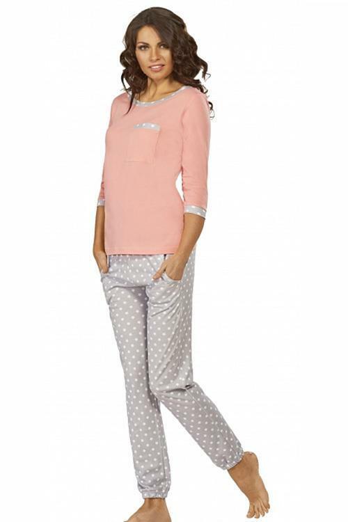 Dámské pyžamo Luna 555-1 - XL - lososová