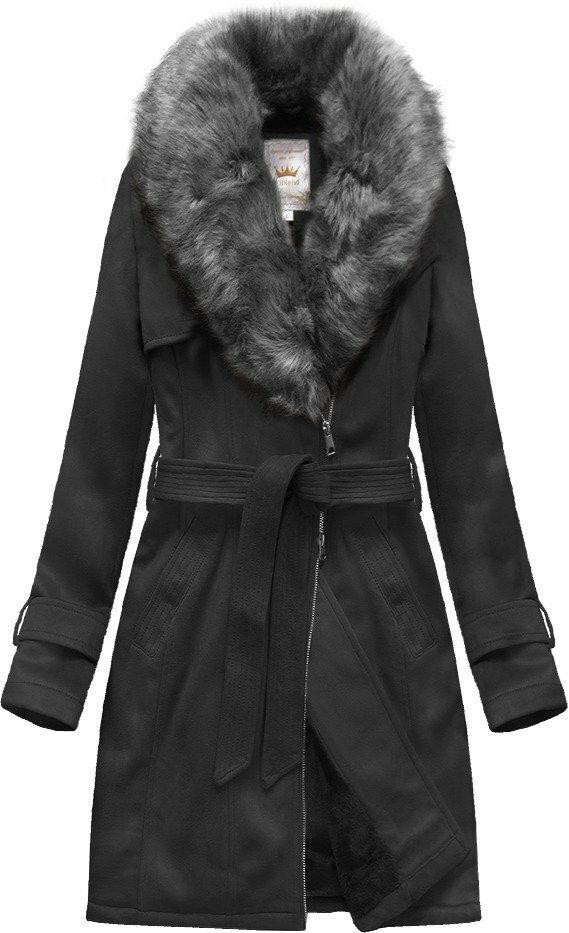 Černý semišový kabátek s páskem (6515) - XXL (44) - černá