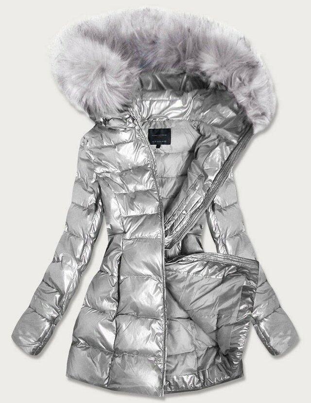 Stříbrná lesklá dámská zimní bunda (GWW1939) - S (36) - stříbrná
