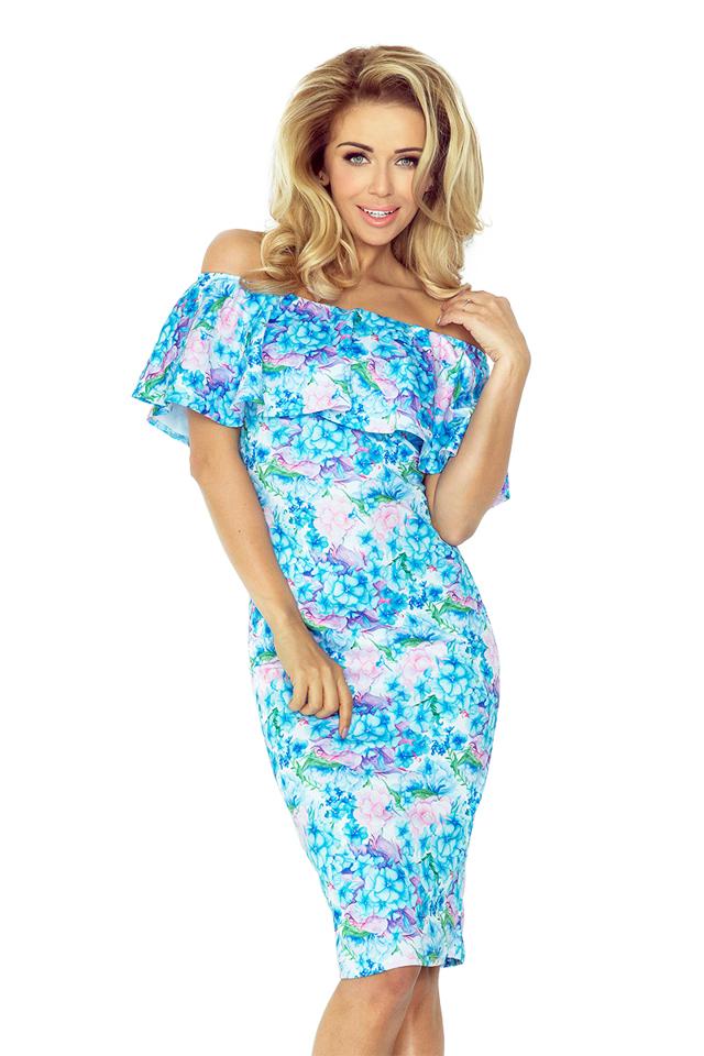 Květované šaty s volánkem 138-5 - S