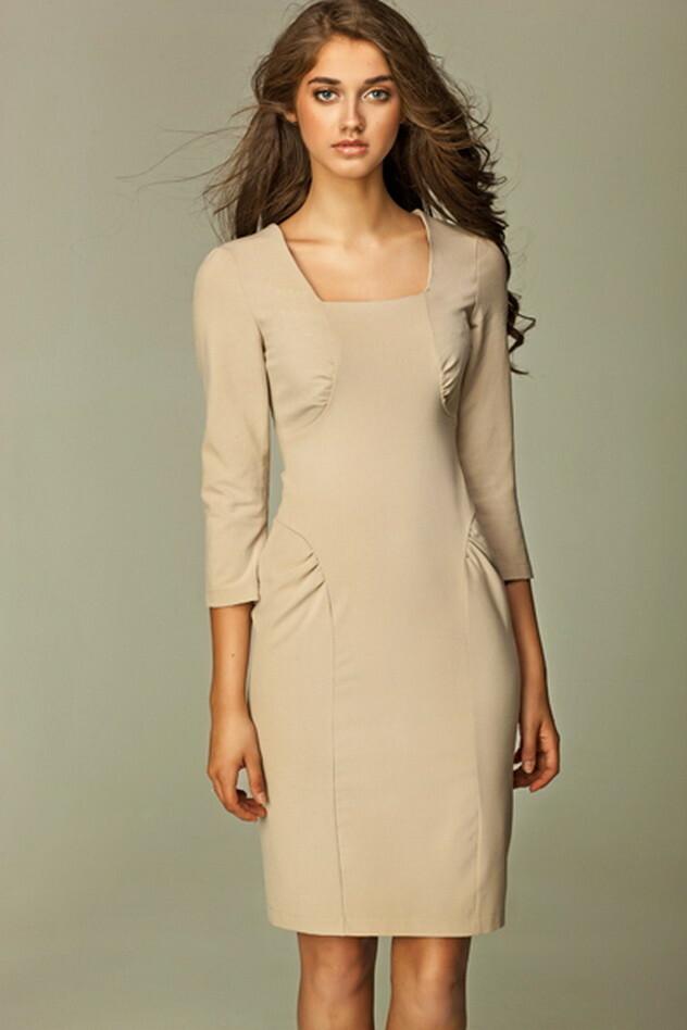 Dámské šaty s dlouhým rukávem S31R - Nife - 36 - béžová