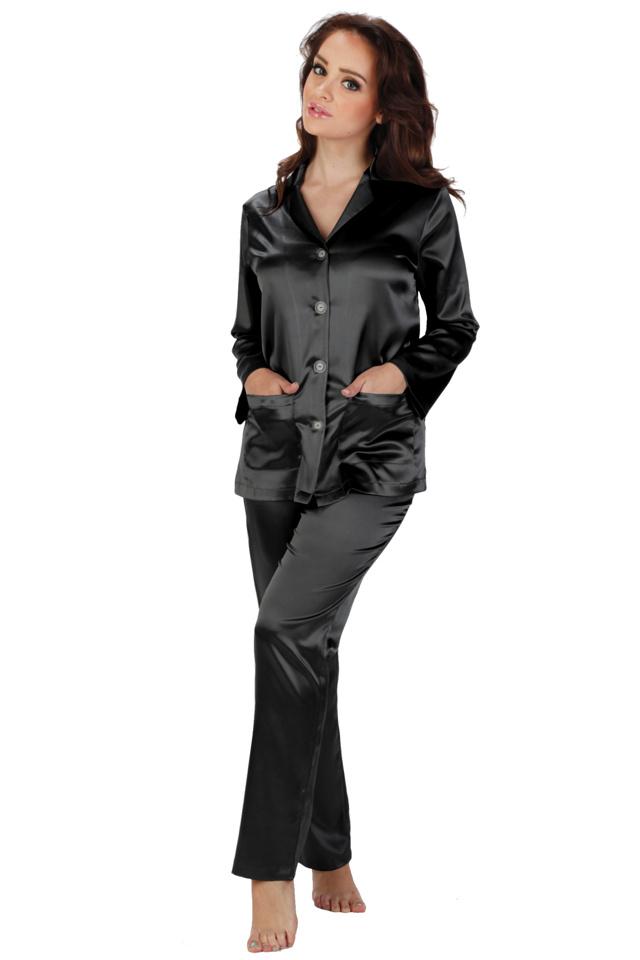 Dámské saténové pyžamo Classic dlouhé černé - XL