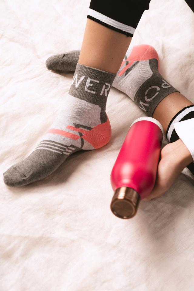 Dámské sportovní ponožky 026 - 38-40 - bílá/žlutá