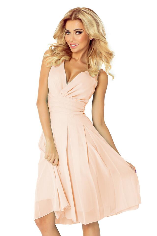 Pastelově růžové šifonové šaty 35-11 - L