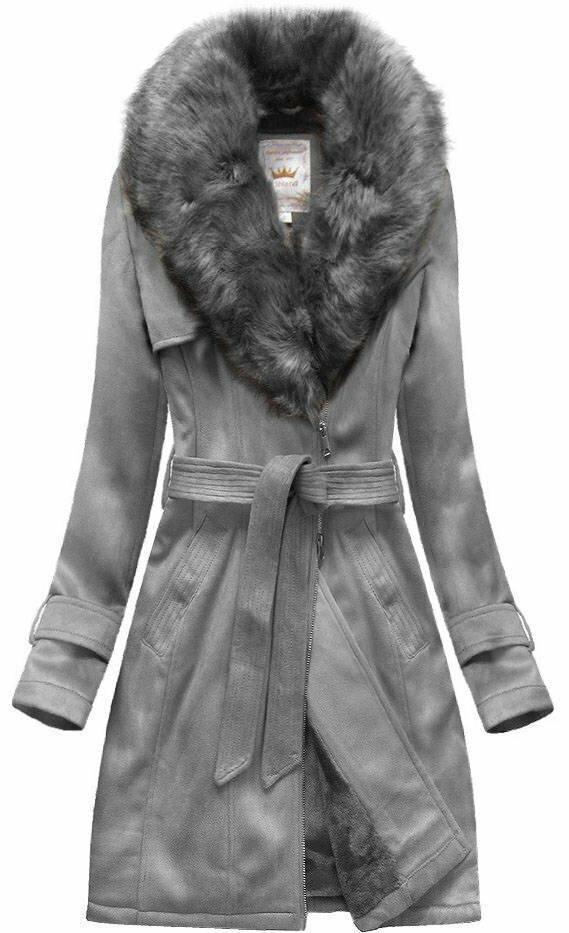 Šedý dámský zimní semišový kabát s páskem s(6515) - XXL (44) - šedá