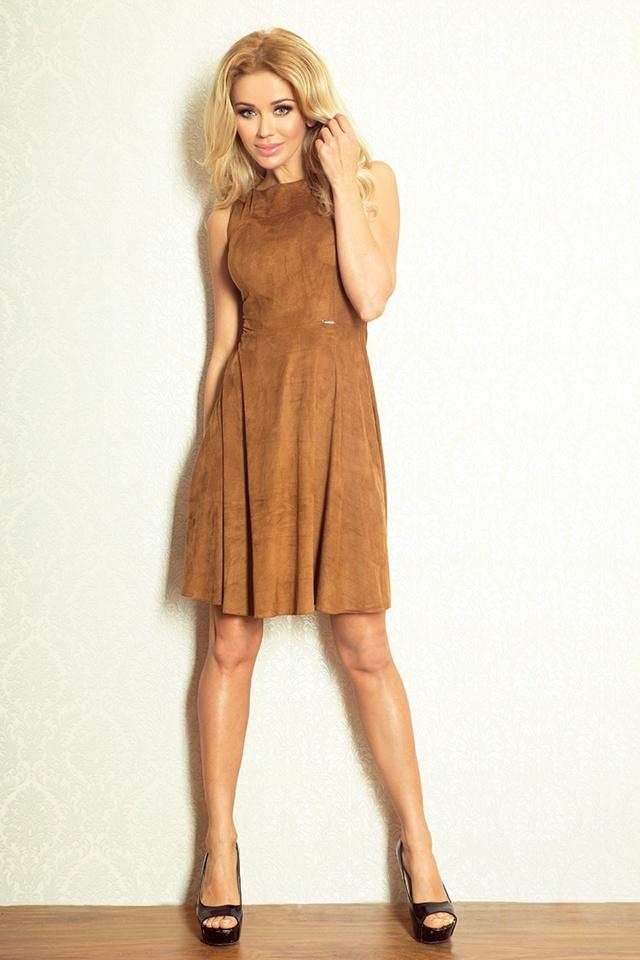 Hnědé rozšířené šaty bez rukávů 51-6