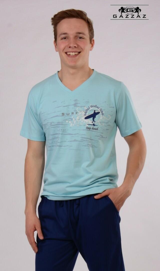 Pánské pyžamo kapri Surfař - světle modrá/modrá M