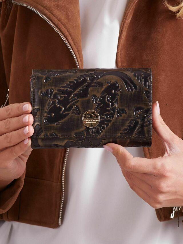 Dámská peněženka s reliéfním černo-hnědým motivem - jedna velikost
