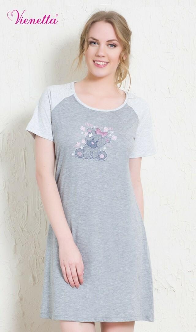 Dámská noční košile s krátkým rukávem Medvěd s mašličkou