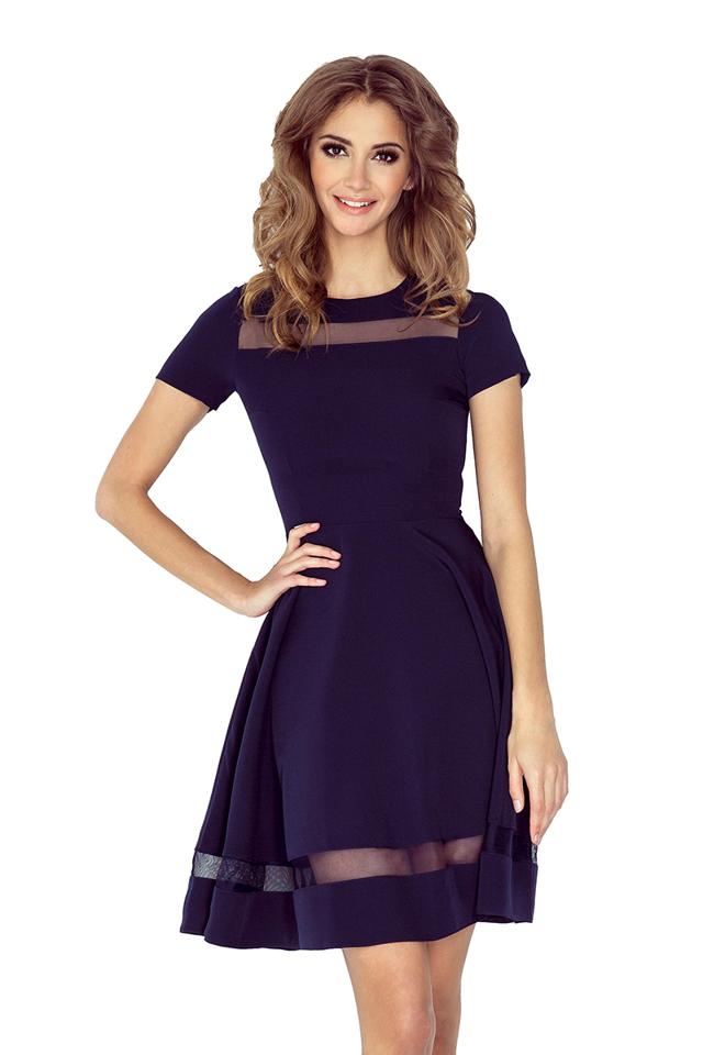 Tmavě modré šaty s tylovými pruhy MM 003-2 - M cbf143fab2