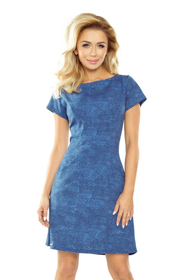 Světle modré džínové šaty s kapsami 155-1 - S