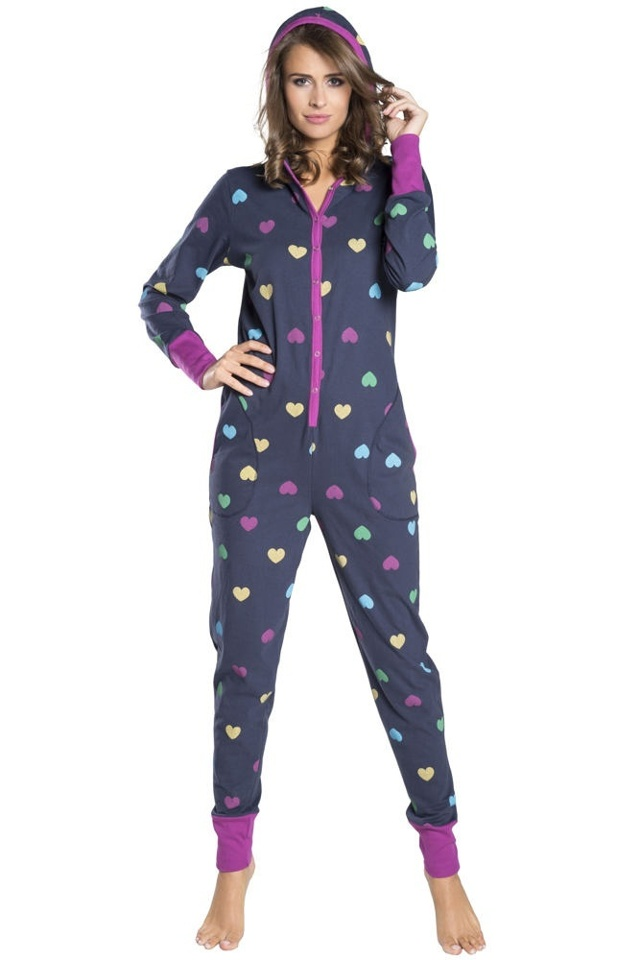 Pyžamový tmavě modrý bavlněný overal Ami druky - S