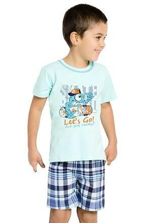 Bavlněné pyžamo Damián Monster Let´s go modré