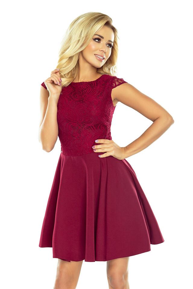157-3 Rozšířené šaty s krajkou MARTA v bordó barvě - S