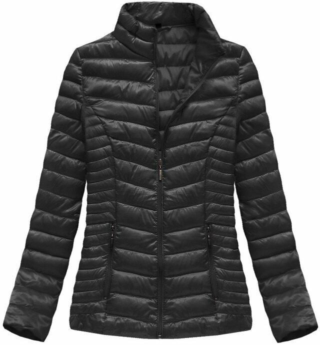 Černá lesklá bunda se stojáčkem (B2601) - S (36) - černá