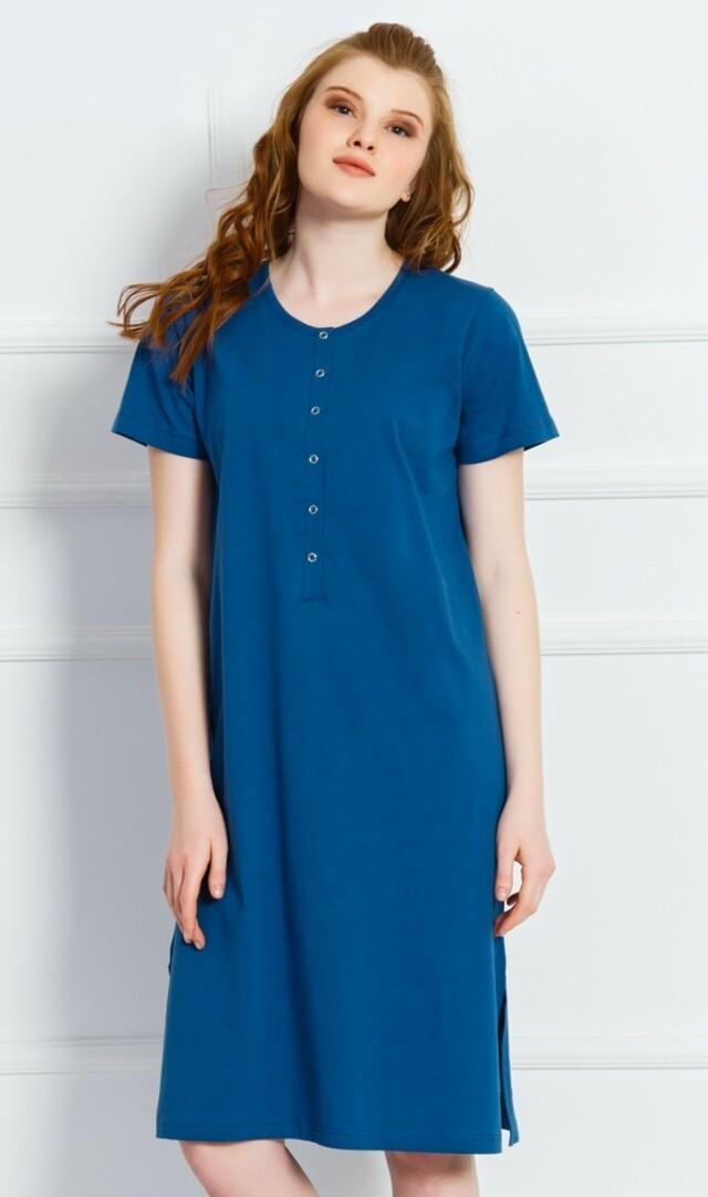 Dámská noční košile s krátkým rukávem Klára - tmavě modrá M