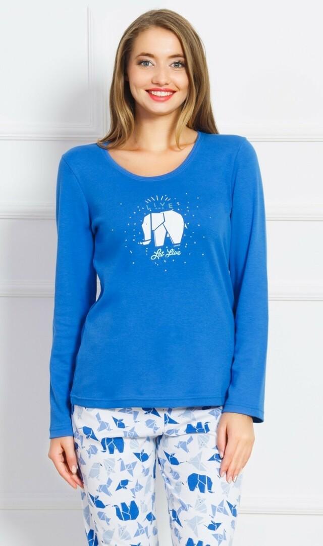Dámské pyžamo dlouhé Elephant - modrá L